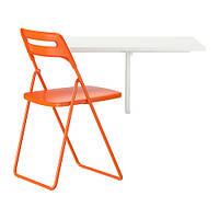 NORBERG / NISSE   Стол и 1 стул, белый, оранжевый