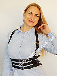 Женская портупея тройная широкая черная, синяя арт.930760