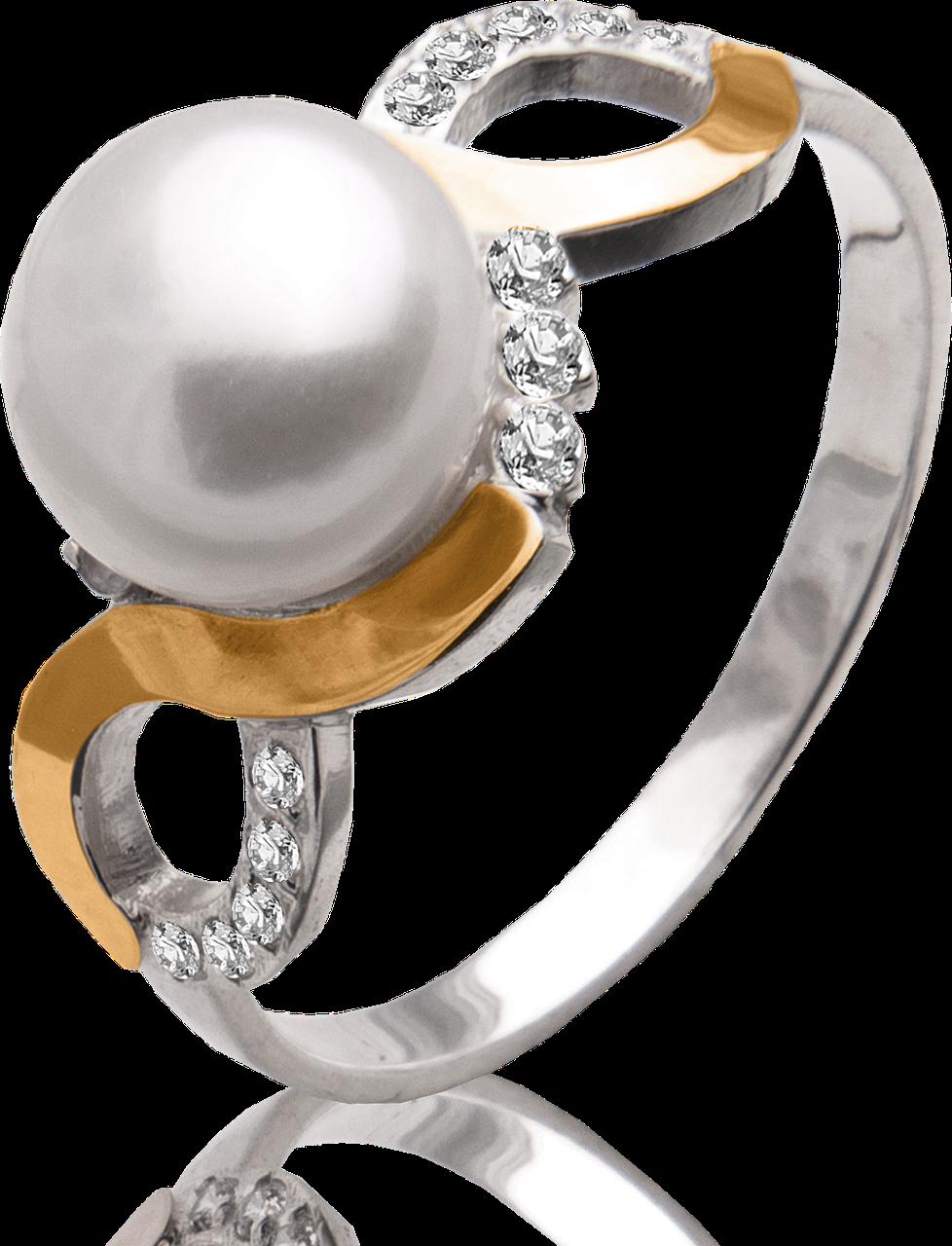 Жіноче кільце з перлами і фіанітами Юр'їв 67к 17