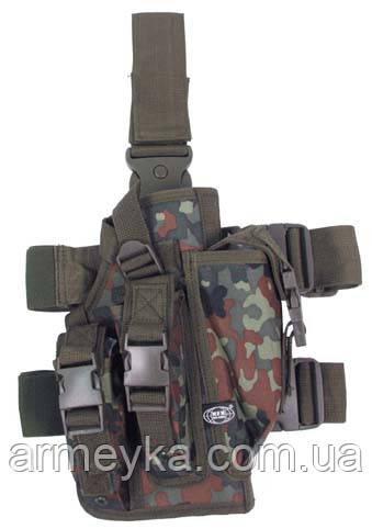 Пистолетная кабура  набедренная с доп. подсумками, flecktarn