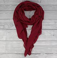Легкий шарф, палантин Butef 0005-2 марсала в звезды, вискоза, фото 1
