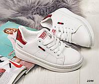Кроссовочки белые с красной  пяточкой, фото 1