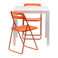 MELLTORP / NISSE   Стол и 2 складных стула, белый, оранжевый