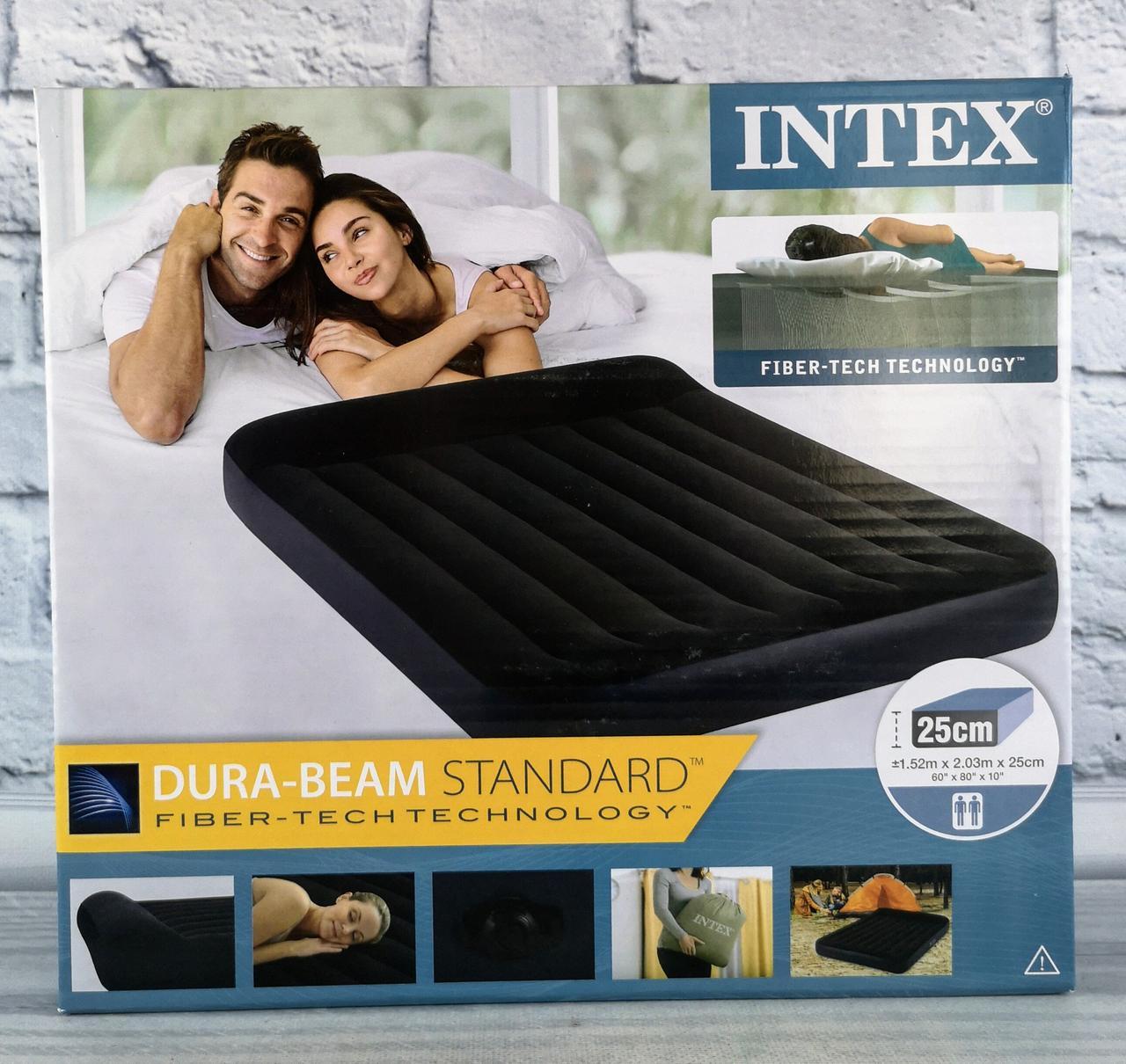 Надувной велюровый матрас. Кровать двухместная 203*152*25 см 64143 Intex