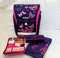 Ранец Herlitz Midi Plus Rainbow Butterfly Радужные Бабочки 4 предмета ортопедический рюкзак