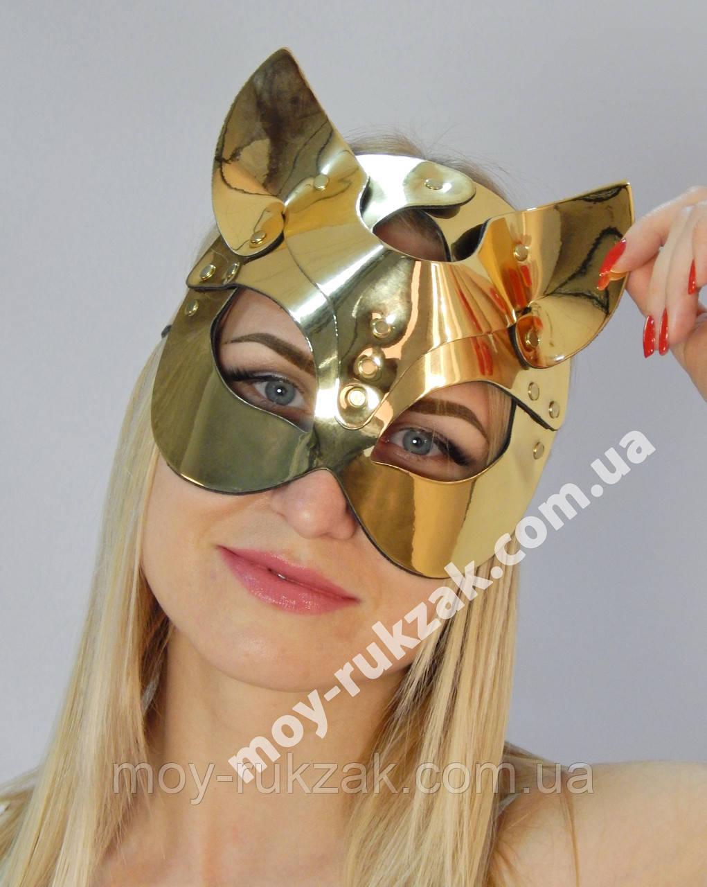 Женская портупея на лицо, маска кошки золото арт.930806