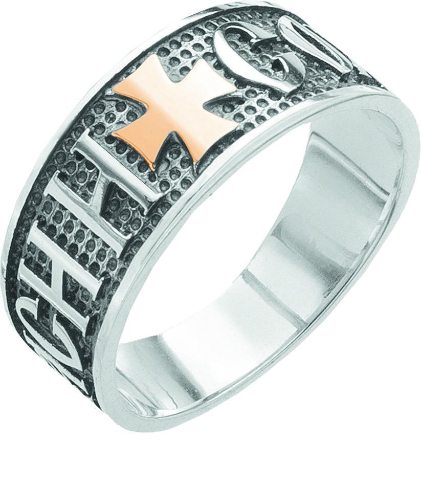 Серебряное кольцо Спаси и сохрани с золотом Юрьев 29к - 29к 18.5