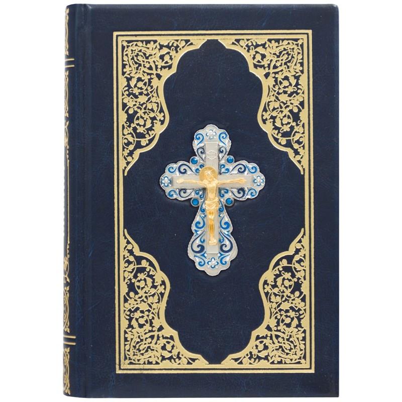 Біблія в шкіряній палітурці з декоративним хрестом