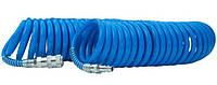 Шланг PT-1708 Intertool спиральный полиуретановый 5.5 x 8 мм, 15 м с быстросъемными соединениями
