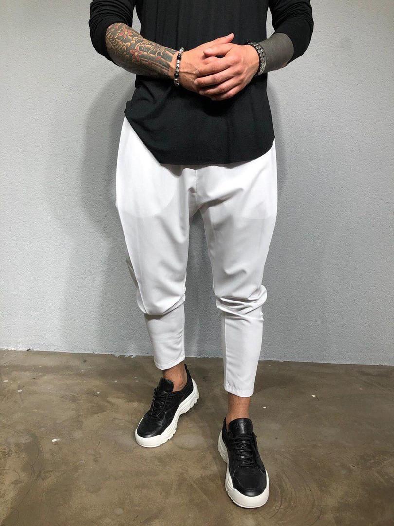 Мужские стильные брюки (белые)