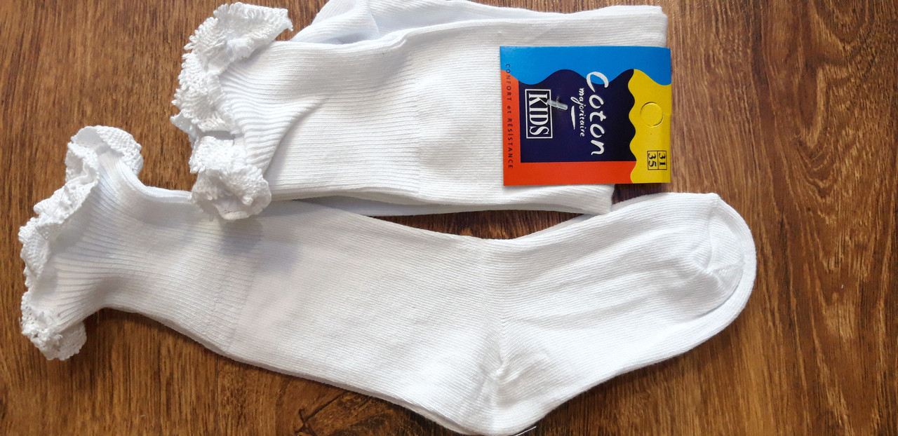 """Шкарпетки дитячі  білі,з рюшиком""""Coton"""" Туреччина"""""""