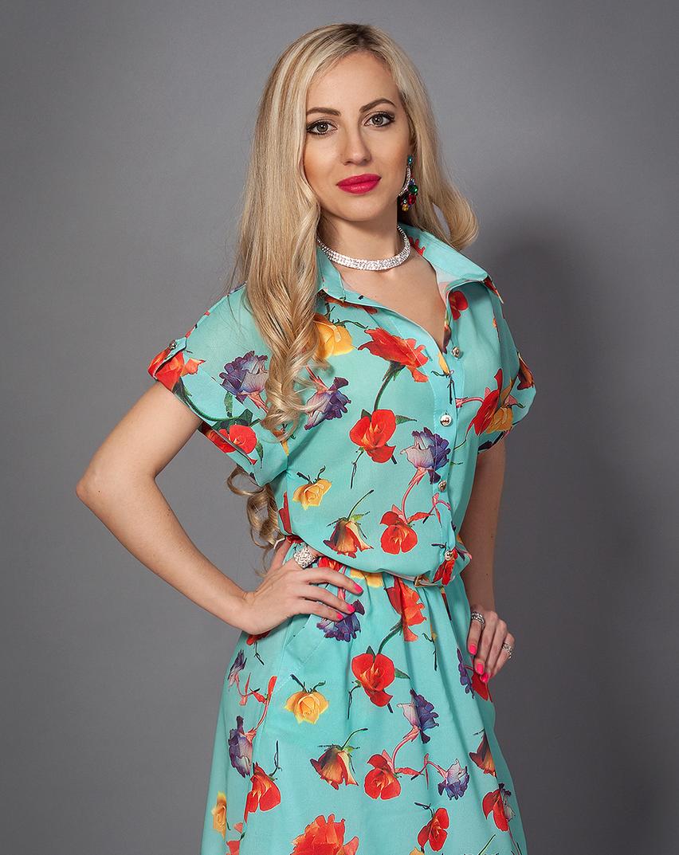 Летнее шифоновое платье с цветами
