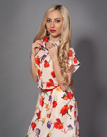 Летнее шифоновое платье белое с цветами, фото 2