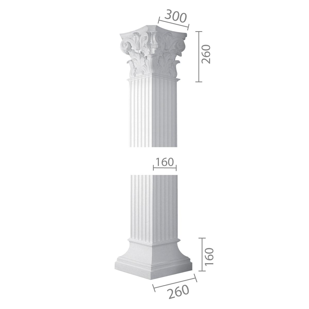 Квадратна колона з гіпсу, гіпсова колона ка-10