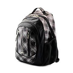 Шкільний сірий рюкзак в клітинку (ортопедичний) / Школьный серый портфель в клетку (ортопедический)