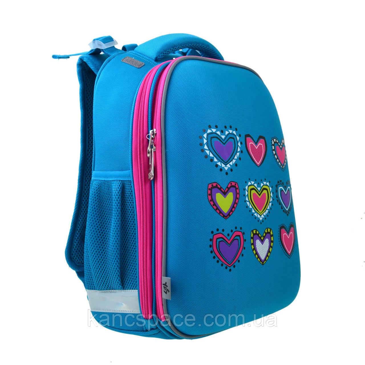 Рюкзак каркасний H-12-1 Hearts turquoise, 38*29*15