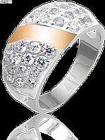 Женское серебряное кольцо Юрьев со вставками золота 82к 18