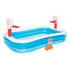 Семейный надувной бассейн Bestway , с баскетболом