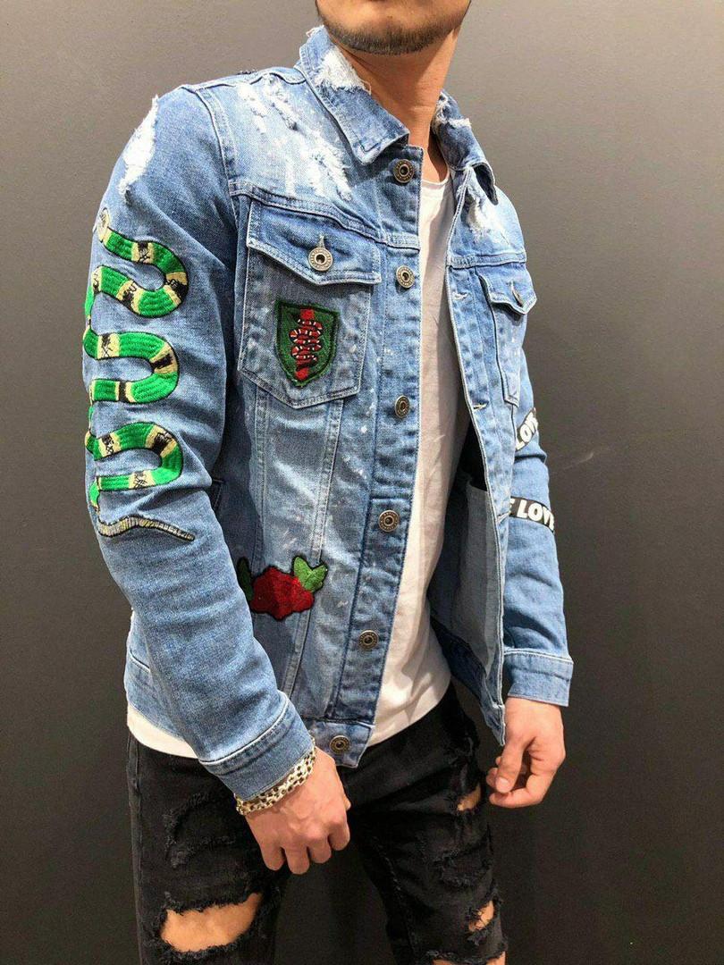 Мужской джинсовый пиджак (голубой)