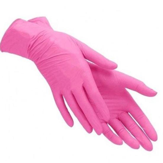 Акция Перчатки нитриловые неопудренные (розовые)