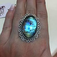 Лабрадор овальное кольцо с натуральным камнем лабрадор в серебре. Кольцо с лабрадором 19,8 размер Индия, фото 1