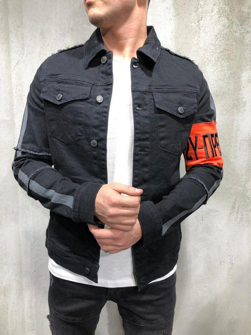 Мужской джинсовый пиджак (черный)
