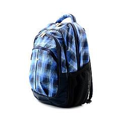Шкільний синій рюкзак в клітинку (ортопедичний) / Школьный синий портфель в клетку (ортопедический)