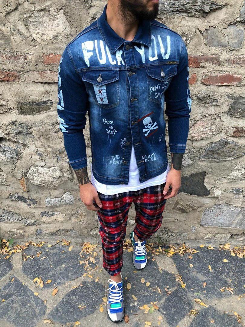 Мужской джинсовый пиджак Fuck You (синий)