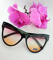 Имиджевые солнцезащитные очки черные цветной градиент прозрачные (074)
