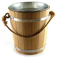 Ведро из дуба для бани 12 л. с металл. вставкой, фото 1