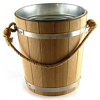 Ведро из дуба для бани 7 л. с металл. вставкой, фото 1