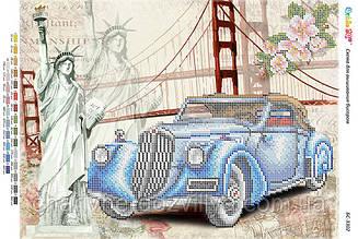 """Схема для вышивки бисером на габардине пейзаж """"Ретро авто 3"""""""