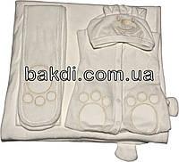 Осенний весенний набор конверт-одеяло 90х100 демисезонный на выписку из роддома велюр молочный с ушками для новорожденных мальчику/девочке М-736