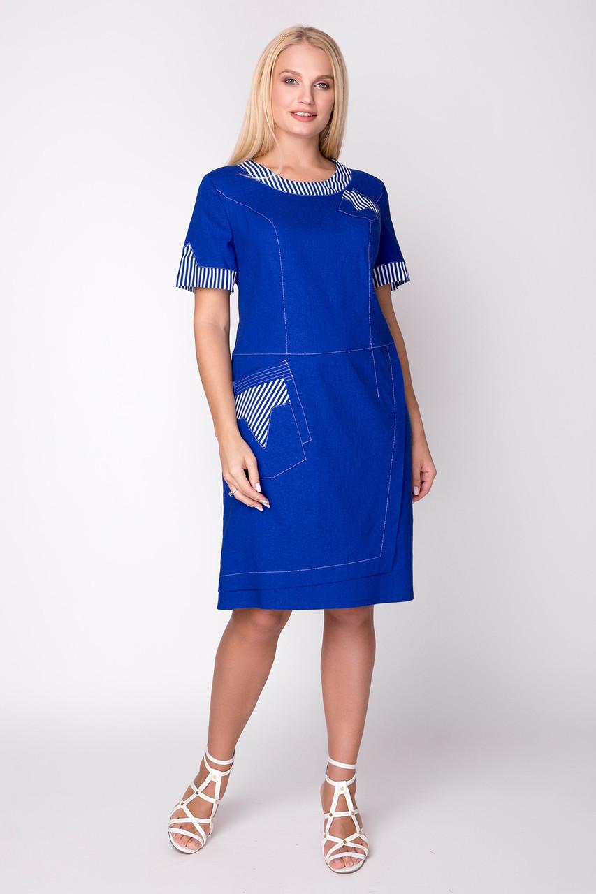 Платье женское летнее лен, размер:50-60
