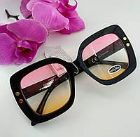 Имиджевые солнцезащитные очки квадратные цветной градиент прозрачные (078), фото 1