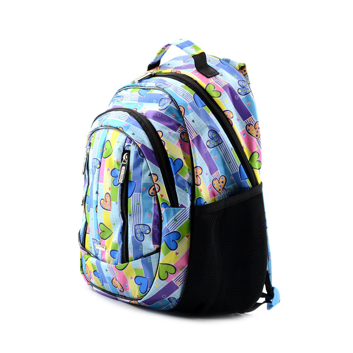 Шкільний голубий рюкзак з сердечками (ортопедичний) / Школьный голубой портфель с сердечками (ортопедический)
