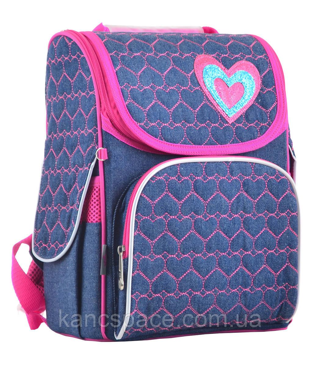Рюкзак каркасний H-11 Hearts blue, 33.5*26*13.5