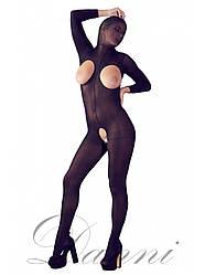 Чёрный комбинезон-сетка с интимным вырезом