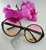 Имиджевые солнцезащитные очки круглые цветной градиент прозрачные (069) , фото 1