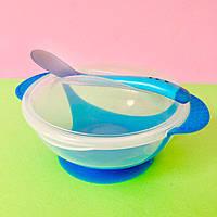 Детский набор посуды  на присоске синий (тарелка, ложка. крышка) Bambi, фото 1