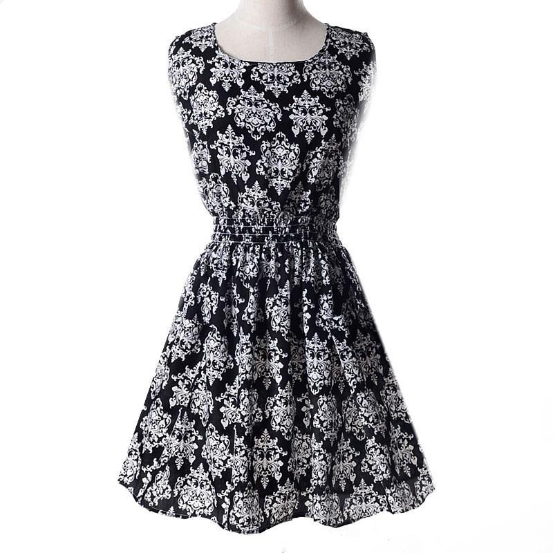 Платье сарафан летнее Белый орнамент на черном  Liva Girl