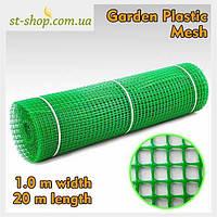 """Сетка пластиковая садовая квадрат """"Клевер"""" 1.0*20м (зеленая) ячейка 10*10, фото 1"""