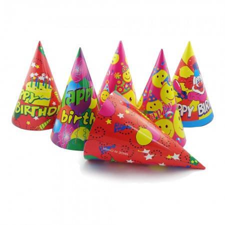 Бумажный Колпачок 24см Happy Birthday (красный), фото 2