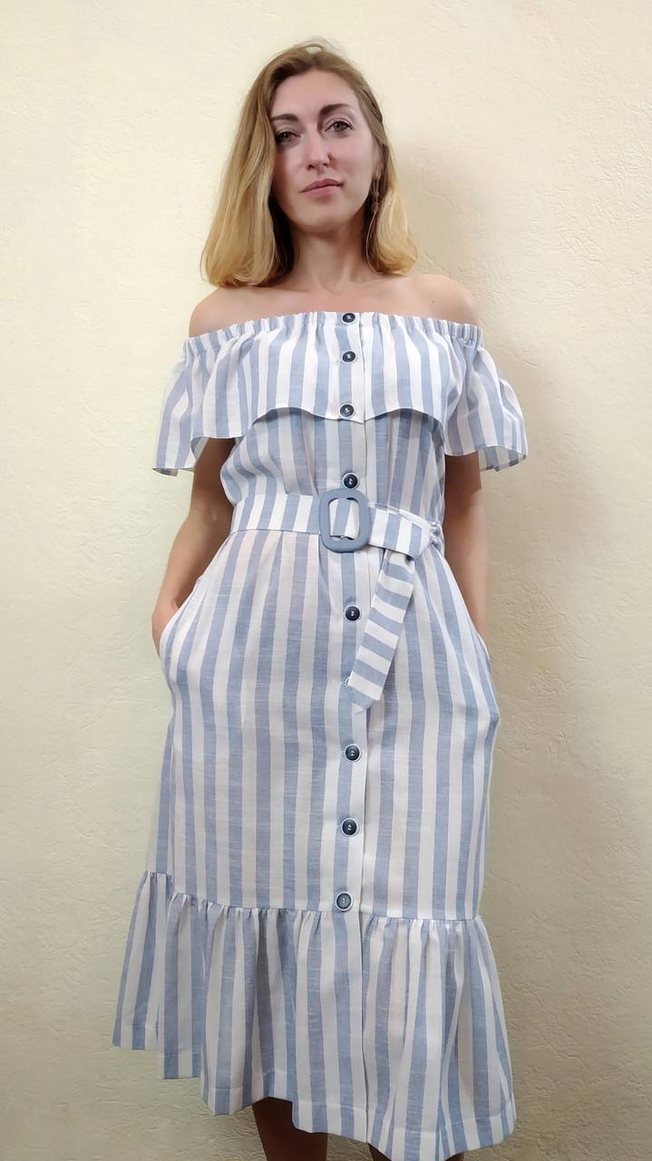 Летнее льняное платье миди в полоску с карманами П270