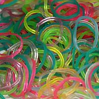 Резинки для плетения Loom Bands микс цветов неоновые (светятся в темноте) 200 шт