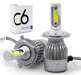 Автомобильные Светодиодные Лед LED лампы  HeadLight  C6 72 Вт 7600LM 6500К 12V COB Цоколь H4