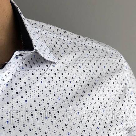 Рубашка мужская XXL (50) приталенная короткий рукав слим фит Турция. Молодежная турецкая Белый, фото 2