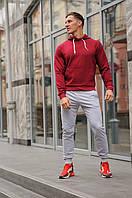 Спортивный костюм мужской весна-лето-осень (бордовая  худи + серые  штаны)