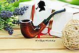 Классическая курительная трубка KAF232 форма Bent Шерлок Холмс из дерева груши под фильтр 9 мм, фото 3