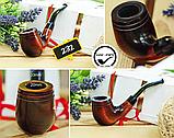 Классическая курительная трубка KAF232 форма Bent Шерлок Холмс из дерева груши под фильтр 9 мм, фото 8